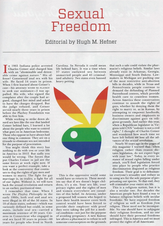 Hugh Hefner's Editorial on Sexual Freedom